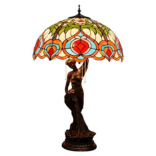 PYROJEWEL modern Table Lamp, peach Multicolor Stained Glass Shade Desk Lamp, Vintage Decoration Bedside/Nightstand Light with Zinc Alloy Base for Living Room Bedroom Indoor (Size : 50cm) T