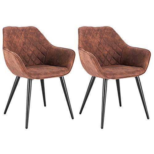 WOLTU Esszimmerstühle BH231br-2 2er Set Küchenstühle Wohnzimmerstuhl Polsterstuhl Design Stuhl mit Armlehne Stoffbezug Gestell aus Stahl Braun