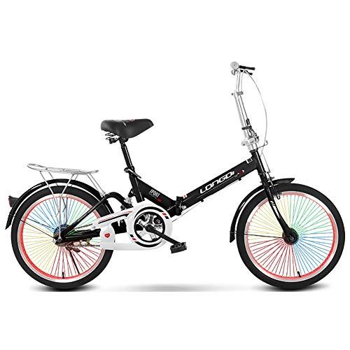 Single Speed Faltrad Für Männer Und Frauen,20 Zoll Dämpfung Faltbares Fahrrad,Mit Bunten Speichen & Vorder- Und Hinterradbremse & Verstellbarer Lenker Erwachsenen-Fahrrad-Schwarz 20 Inch