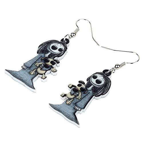 XUBB Acryl Dark Smile Puppe Spielzeug Ohrringe Drop Hoops Schmuck für Frauen Mädchen Party Kostüme Charms Geschenk