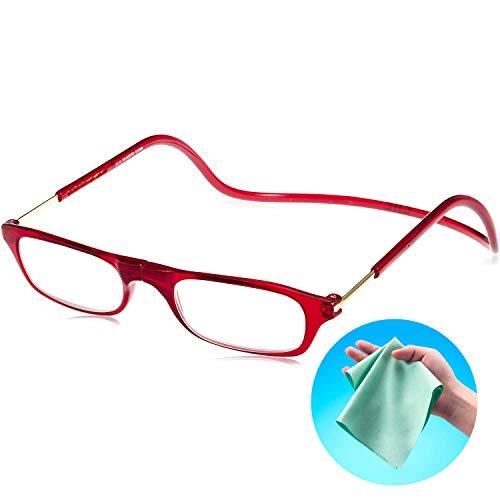 Clic Readers (クリックリーダー) リーディンググラス 老眼鏡 + 東レ トレシー クリーニングクロス セット (レッド,+1.00)