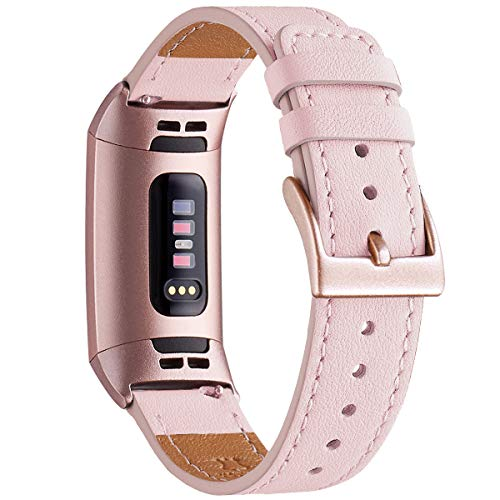 WFEAGL Armband Kompatibel für Fitbit Charge 3 Armband/Fitbit Charge 4 Armband Leder, Klassisch Einstellbares Ersatzarmband Sport Kompatibel für Fitbit Charge 3/4(Rosa++Roségold Adapter)