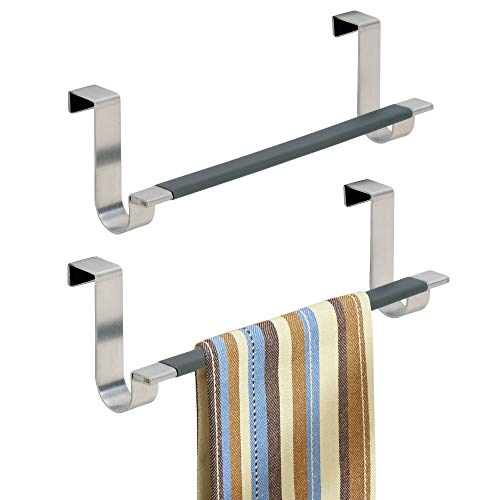 mDesign Juego de 2 toalleros de baño sin Taladro – Práctico toallero Colgante para Puertas – Modernos toalleros para baño o Cocina de Acero Inoxidable Cepillado – Plateado