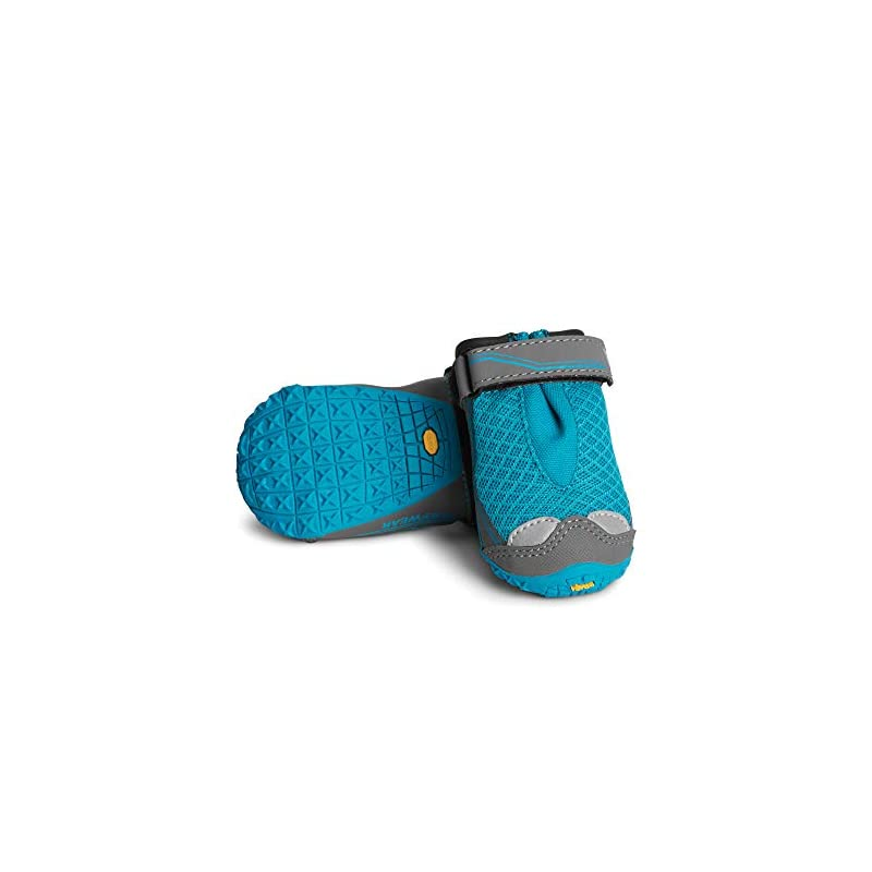 dog supplies online ruffwear, grip trex outdoor dog boots with rubber soles for hiking and running, blue spring, 2.5 in (2 boots)