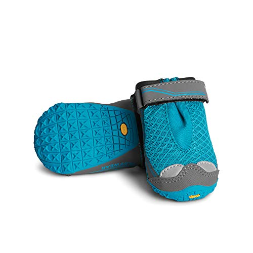 RUFFWEAR, Grip Trex Outdoor Dog Boots with Rubber Soles for Hiking and Running, Blue Spring, 3.0 in (2 Boots)