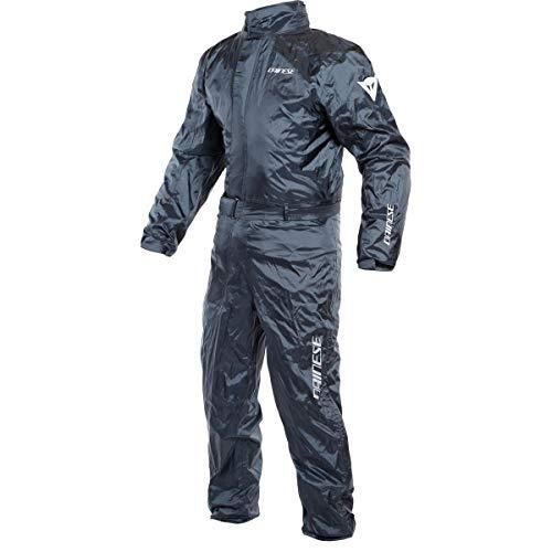 DAINESE Rain Suit, Tuta impermeabile antipioggia Moto, ripiegabile, leggera, con inserti riflettenti, Antracite, xxl
