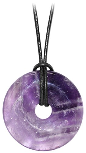 Kaltner Präsente Geschenkidee - Lederkette für Damen und Herren mit Donut Anhänger aus dem Edelstein Amethyst Violett (Ø 40 mm)