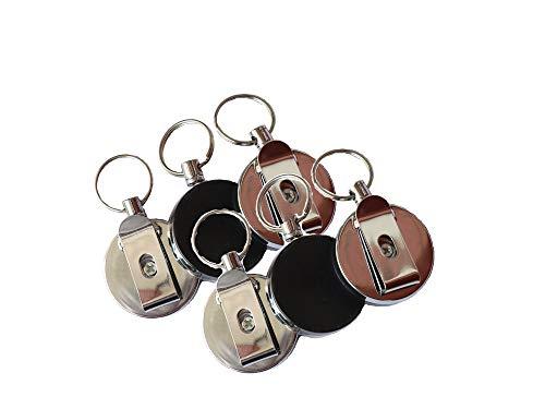 Ausweis JoJo,6 Pack Stahlseil Schlüssel JoJo Retractable Skipasshalter mit Schlüsselring und Aufrollmechanismus Abzeichen Halter für Kartenhüllen Ausweishalter Kartenhalter Halter Schwarz