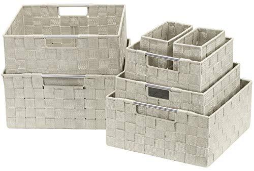 Sorbus Storage Box Woven Basket Bin Container Tote Cube Organizer Set Stackable Storage Basket Woven Strap Shelf Organizer Built-in Carry Handles (7 Piece - Beige)