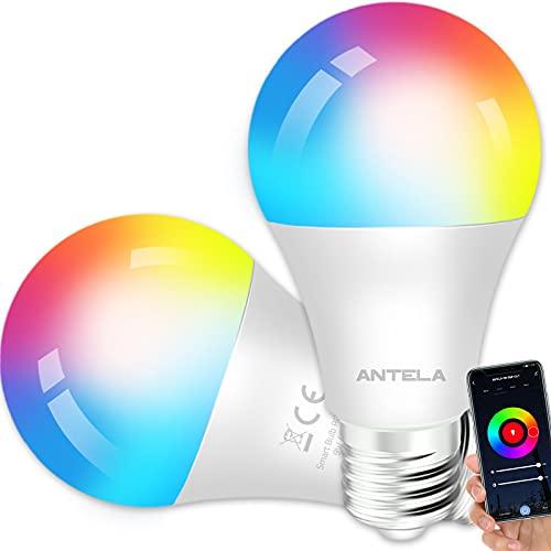 ANTELA Bombilla Inteligente LED E27 Wifi 9W Compatible Con Google Home/Alexa, Bombilla RGB( 2700K-6500K)Luces Colores Regulable, Control Remoto,Control De Voz, Ahorro Energético, Paquete 2