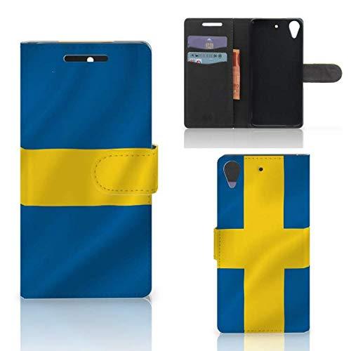 B2Ctelecom Kartenfach Tasche für HTC Desire 628 Handyhüllen Schwedische Flagge