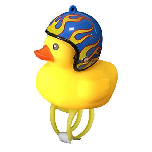 Bike Bell Cartoon Ente Bike Head Light Squeeze Fahrrad Hörner Lenker Fahrrad Zubehör für Kinder Erwachsene Fahrrad Motorrad, schöne gelbe Gummiente mit Helm und lautem Sound