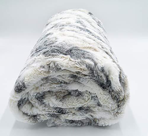 Lex\'s Linens Opulent Premium - Coperta in finta pelliccia (lupo di marmo, 200 x 220 cm)