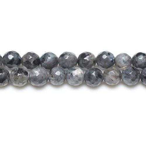 Fil De 45+ Noir/Gris Larvikite 8mm Rondes Facetté Perles GS8636-3 (Charming Beads)