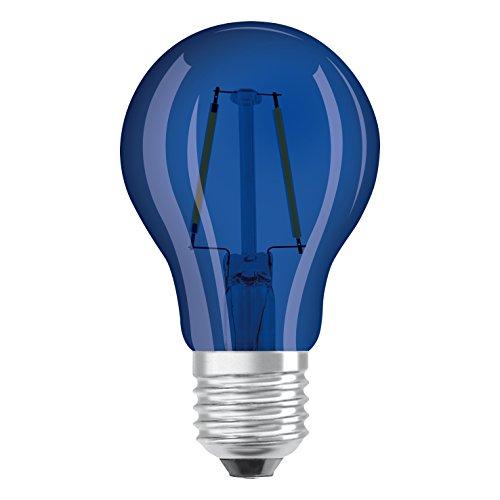 Osram LED Star Classic A Décor Blue Lampe, in Kolbenform mit E27-Sockel, Dekoratives blaues Licht und Design, Ersetzt 15 Watt, 1er-Pack