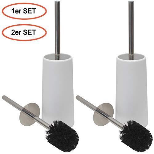 Cleanpuls WC-Bürste mit Behälter, Klobürste, Toilettenbürsten Edelstahl 2er Set weiß mit schwarzer Bürste
