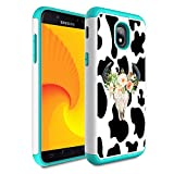 Galaxy J7 Refine/J7 2018/J7 Star/J7 Top/J7 Aura/J7 Aero/J7 Crown/J7 Eon Case,Skyfree Heavy Duty Dual Layer Bumper Protective Phone Case for Samsung Galaxy J7 2018,Flower Cow Skull