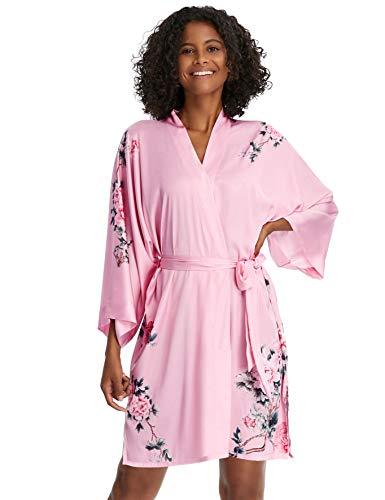 PRODESIGN Damen Morgenmantel Kurz Kimono Gedruckt Strandkleid Sommer Satin Bademantel Blumen Muster Robe Leopardenmuster/Kuhmuster Damen Nachtwäsche Girl Pajama Party (Pfingstrose/Rosa)
