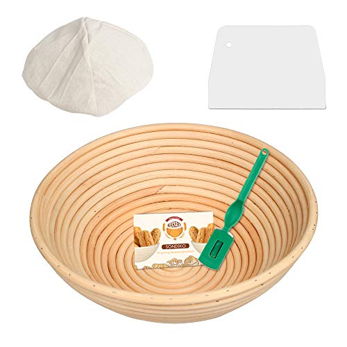 Round Banneton Proofing Basket, Cloth Liner, Dough Scraper