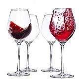 Sweety Moomoo Verres à vin en Cristal Rouge et Blanc - sans Plomb - résistant aux éclats - Ensemble de Verres à vin de 4500 ML, Transparent (4)