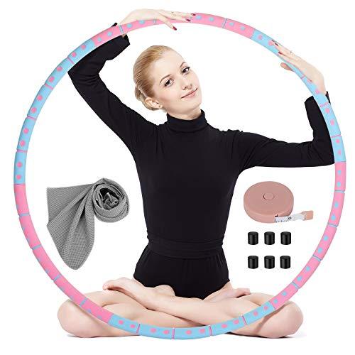 OOTO Hula Hoop Reifen Erwachsene, Hullahub Reifen zum Abnehmen und Massage Hulahupreifen Fitnessreifen 6 Segmente Abnehmbar für Erwachsene Fitness Gym Bauchformung (Rosa)