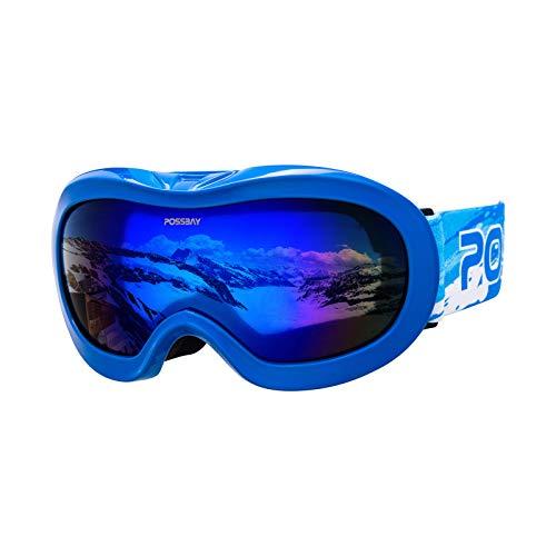 Possbay Skibrille Snowboard Brille OTG UV-Schutz mit Rahmen Schneebrille für Kind beschlagfreie für Brillenträger und Helmkompatible