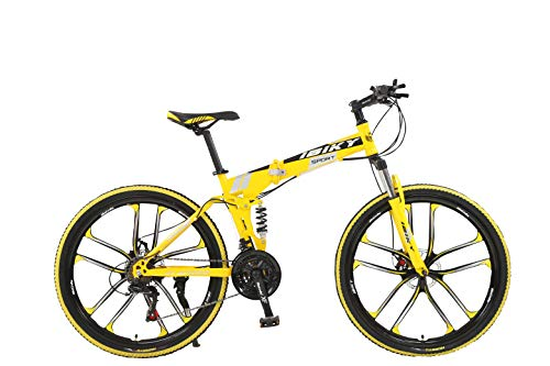 "Ibiky 26"" MTB Folding Dual Suspension 21 Speed Gears Mountain Bike (Yellow)"