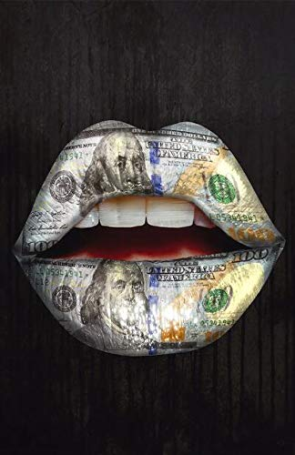 N / A Soldi in Bocca Inspiring Poster e Stampe su Tela Dipinti su Tela Lip Graffiti Quadri su Tela Wall Street Art Pictures50x70cm