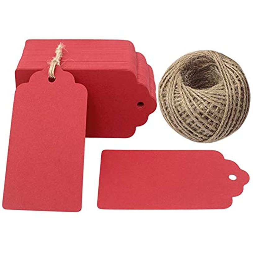 Red Gift Tags,Kraft Paper Valentine Tags with String,100 Pcs Blank Gift Tag Vintage Wedding Favor Hang Tags with 100 Feet Natural Jute Twine Retangle Tags