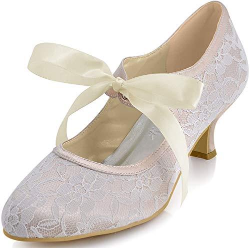 ElegantPark HC1521 Zapatos Novia Tacon Bajo Mary Jane