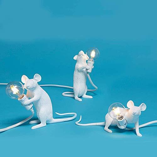 Lámpara de Mesa con Forma de Ratón, Resina Creativa, Lámpara de lectura, es la luz Perfecta Para el Hogar y Cualquier Lugar Que Ames- Combinación Blanco