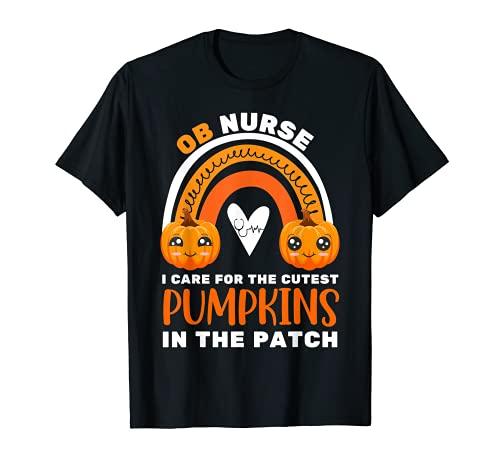 Rainbow OB Enfermera Calabazas ms lindas en el parche Halloween Fun Camiseta