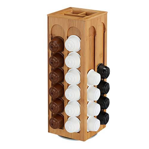 relaxdays Soporte para cápsulas de Dolce Gusto, Giratorio, Dispensador de bambú, 40,5 x 14 x 14 cm, 1 Ud, Marrón