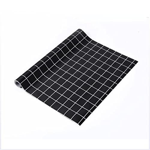 LOKIH Plastico Protector para Cocina Cajones Alfombras Non Adhesivo para Nevera Mueble Fregadero Estante Organizador Cubiertos,Cuadros Negros,45x500cm
