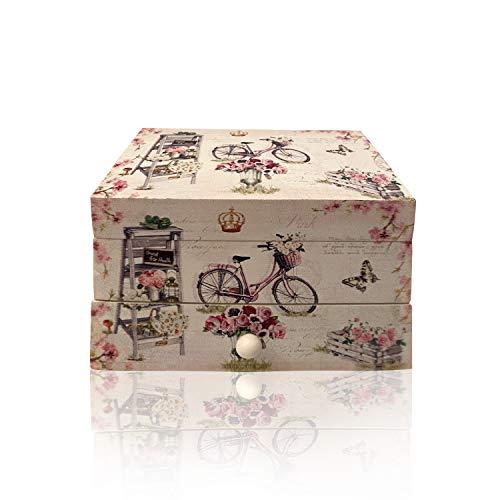 Joyero Musical, cajón musical para Joyas, Cofre de almacenamiento de Collares, anillo, y pendientes, organizador de diseños juveniles, ideal para regalo con espejo pequeño