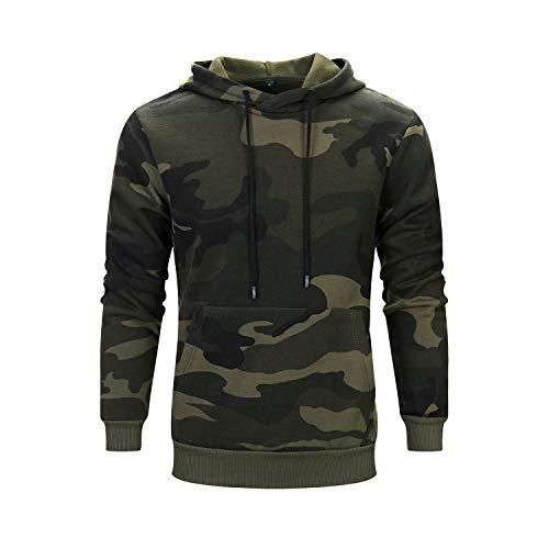 ZAPZEAL Herren Pullover Fleece Sweatshirt Camouflage Hoodies (Grün, Größe L)