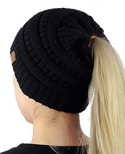 Crochet Mujeres Invierno Gorro de Lana Tejer Beanie Casquillos Calientes Sombrero de Invierno Diseño de Cola de Caballo (Negro)