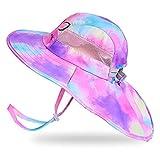 Kids Sun Hat UV Protection Unicorn Summer Beach Play Hats Wide Brim Neck Flap for Girls 2-9 Years, Purple Aqua Tie Dye