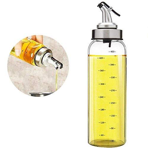FARI Distributeur d'huile d'olive - 500 ml bouteille d'huile en verre sans plomb pour huile d'olive végétale, bouteille d'huile de verre sans plomb. 500ml