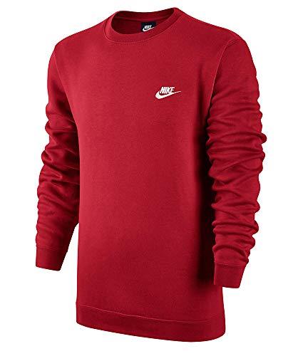 Nike M NSW CRW FLC Club–Maglietta a Maniche Lunghe per Uomo, Uomo, M NSW CRW FLC Club, Rosso (University Red)/Bianco, M