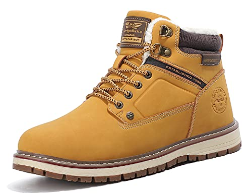 ARRIGO BELLO Stivali Uomo Invernali Scarpe Neve Stivaletti Foder Antiscivolo Caldo Eleganti Imbottiti Trekking Boots Taglia 41-46 (Giallo, numeric_44)