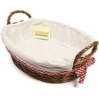woodluv 38 x 28 cm cesto de Mimbre Oval Forro Blanco, marrón