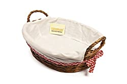 Dimensions - (L) 38CM X (W)28 X (H) 11CM X (D) 10CM APPROX Multi Use Hamper - Suitable For Bread Baskets, Gift Hampers and Organisers Red and White Ginham Rim - Bows In Gingham Either Side lovingly Hand Made With Half Wicker Cloth Is removable For Co...