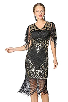 Metme 20s Party Dresses Art Deco Sequins Finged Gatsby Flapper Cocktail Dress with 2/3 Sleeves
