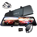 WOLFBOX Mirror Dash Cam with Detached Front Camera,10' Anti Glare Rear View Camera,1920P Front and Rear Dual Cameras,Backup Camera for Car with Night Vision,Waterproof Backup Camera,Parking Assistance