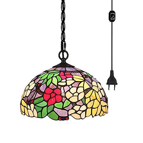 FSLiving Tiffany - Lámpara de techo de estilo barroco con pantalla de cristal de colores y cable de 4,5 m con regulador de intensidad certificado CE para restaurante