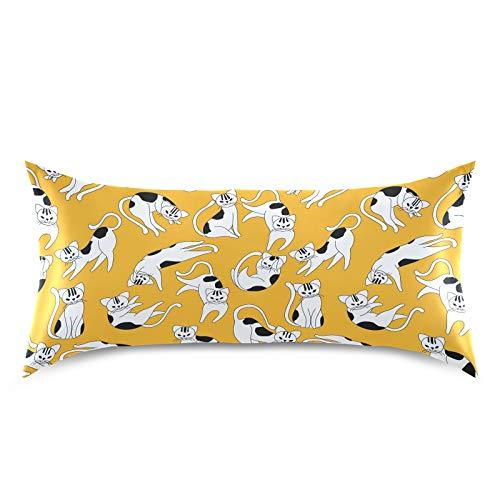 HaJie - Funda de almohada de satén con estampado de gato, 100% poliéster, funda de almohada para cabello y piel, tamaño king de 50,8 x 101,6 cm, 1 unidad