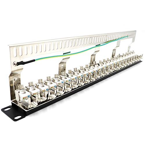 YRQ Cat7 Patch Panel 24Port CAT7/CAT6A FTP Patch Panel Full Shielded...