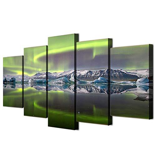 FLSNF 5 stuks schilderijen wooncultuur slaapzaal woonkamer zee ijs bergpatroon achtergrond wandschilderij doek poster kunstwerk tekening geschenk 20x30cmx2 20x40cmX2 20x50cmX1 Rahmen Haben