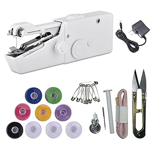 Macchina da cucire portatile, Mini macchina da cucire elettrica portatile senza fili, Piccola macchina da cucire Handy per tessuti vestiti per bambini
